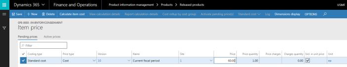 Create and activate item price