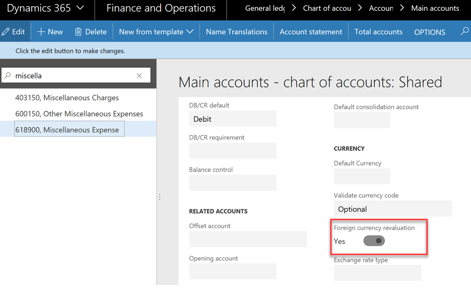 MSDyn365FO: Foreign currency revaluation (General ledger and